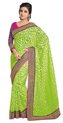 Triveni Evoking Green Evening Wear Border Work Tissue Brasso Indian Saree
