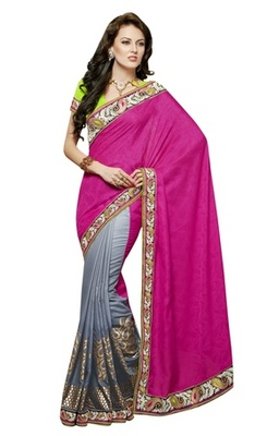 Triveni Sizzling Party Wear Border Worked Jacquard Viscose Indian Ethnic Saree