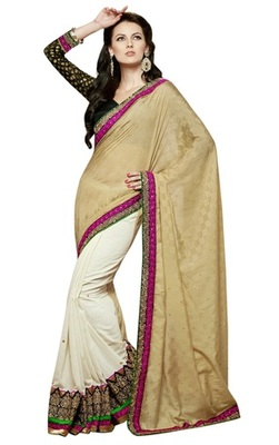 Triveni Dazzling Party Wear Border Worked Viscose Indian Ethnic Saree