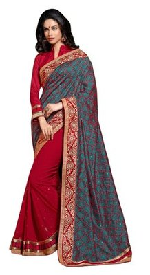 Triveni Indian Traditional Alluring Traditional Embroidered Border Saree