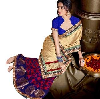 Triveni Indian Traditional Appreciable Vine & Floral Motif Jacquard Sari