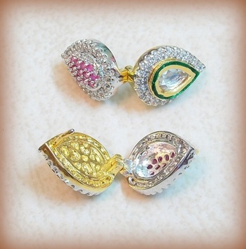 Hot selling Latest 2 in 1  Cz pink Swarovski Crystals and kundan earring studs
