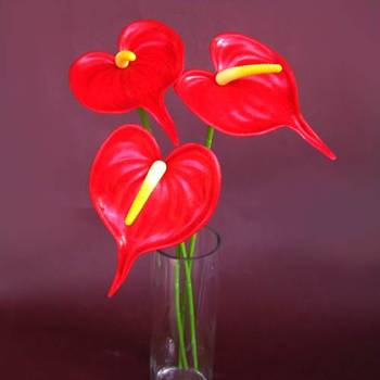 Anthuriums Natural Touch Red (Artificial)