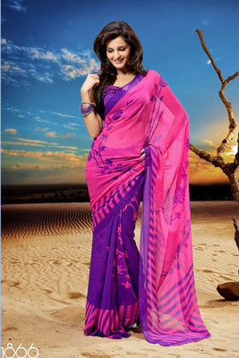 Monica Bedi Chiffon Georgette Printed Saree