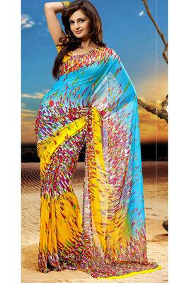 Monica Bedi Chiffon Georgette Printed Saree