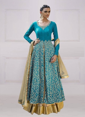 Sky Blue Bangalori Silk Embroidered Anarkali salwar Suit with Dupatta