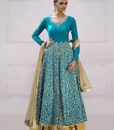 Buy sky blue Bangalori silk embroidered Anarkali salwar Suit with dupatta abaya-suit online