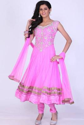 Fuchsia Pink Net Embroidered Party and Festival Anarkali salwar Kameez
