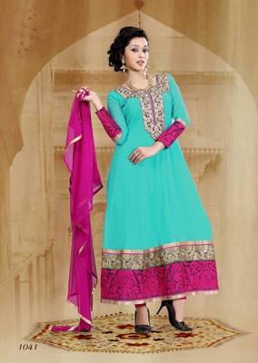 Riti Riwaz Georgette  Fabric  With Un-Stitch Dupatta  Rama Green Color SG1041