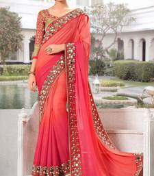 Buy multicolor embroidered georgette saree with blouse ombre-saree online
