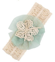 Buy Soft Elastic Lace Chiffon Green Flower  Newborn BabyGirl Headband hair-accessory online