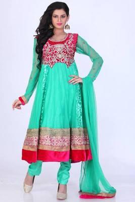 Light Persian Green Net Embroidered Party and Festival Anarkali Salwar Kameez