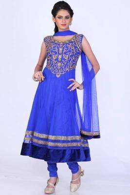Persian Blue Net Embroidered Party and Festival Anarkali Salwar Kameez