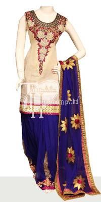 Bold blue with cream zari design stylish replica