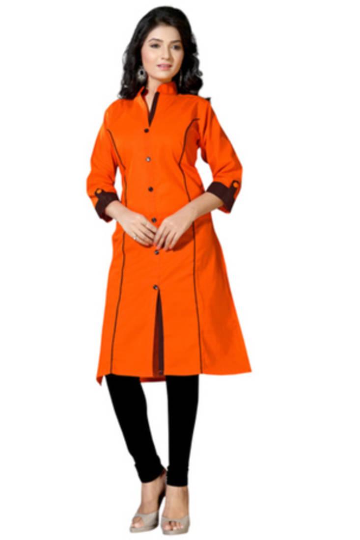 Buy Orange Cotton Plain Kurti Online