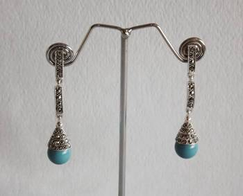 Swiss Marcasite Silver Earrings with Blue Sapphire