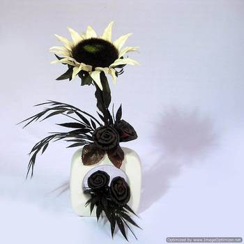 Dried Artificial Sun flower Arrangement on Ceramic Vase