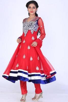 Rose-madder Red Net Embroidered Party and Festival Anarkali Salwar Kameez