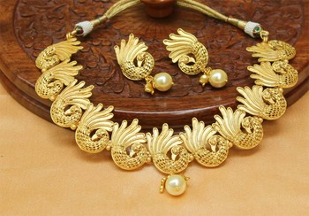 Beautiful Designer Matt finish  Peacock  necklace set