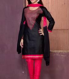 Buy Black embroidered cotton unstitched salwar dress with dupatta diwali-discount-offer online