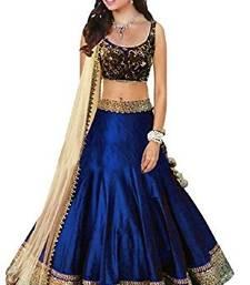 Buy Royal blue banglory silk embrodiary unstitched lehenga choli navratri-lehenga-chaniya-choli online