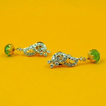 Simple Jaipuri Green AD Earrings