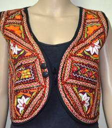 Buy Multicolour hand embroidered waist coat ethnic-jacket online