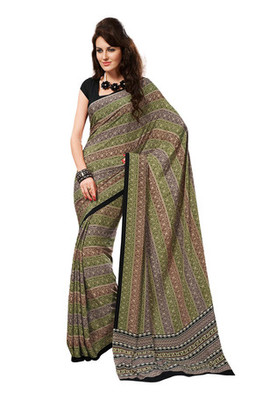 Fabdeal Green Colored Crepe Printed Saree