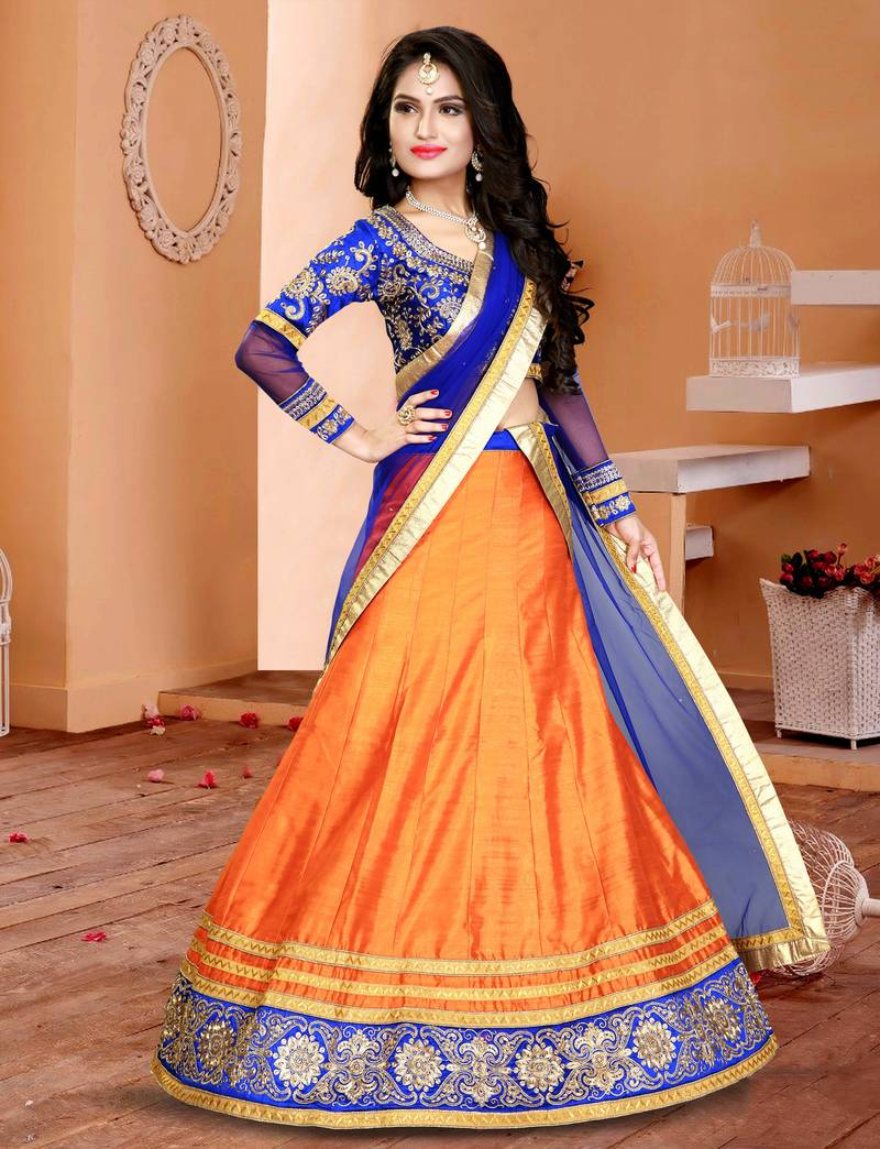 Buy Orange Embroidered Silk Ghagra Choli Online
