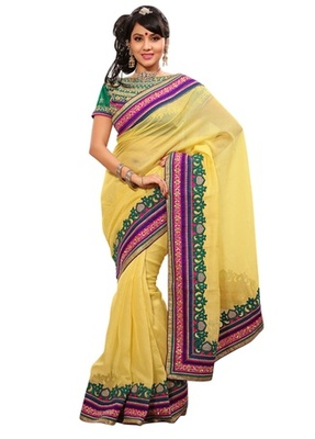 Triveni Indian Ethnic Sophisticated Border Worked Jute Silk Saree