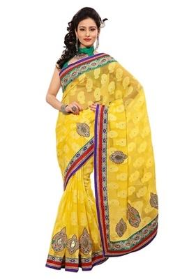 Triveni Indian Ethnic Remarkable Embroidered Chiffon Jacquard Sari