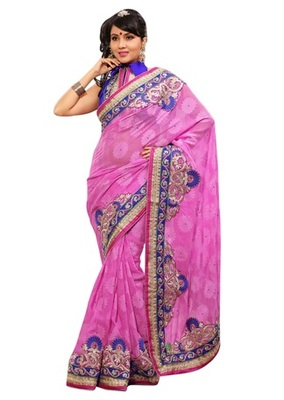 Triveni Indian Ethnic Magnetic Embroidered Chiffon Jacquard Saree