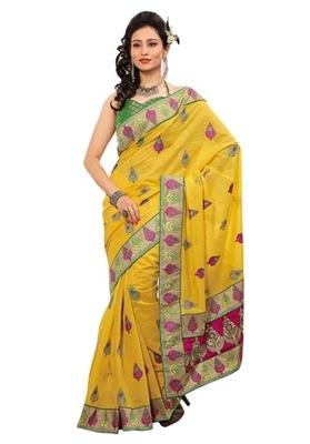 Triveni Indian Ethnic Majestic Embroidered Chanderi Silk Saree