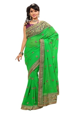Triveni Indian Ethnic Startling Vibrant Colored Embroidered Saree