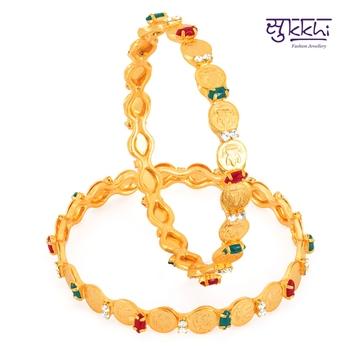 Sukkhi Gold Plated Color  lord lakshmi bangels