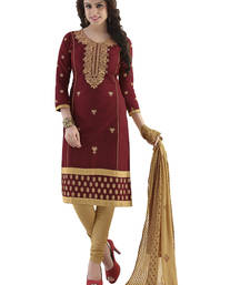 Buy Brown cotton embroidered unstitched salwar with dupatta salwars-and-churidar online