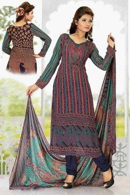 Brown Colour Georgette Salwar Kameez Showing  Printed Work