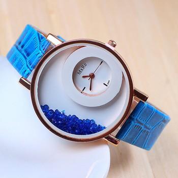 New Fashion Blue color stylist  women's wear Leather strap Quartz Wristwatch