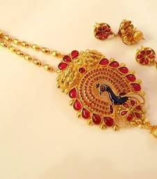 Buy Lovely Pink Kempu Peacock Necklace Set south-indian-jewellery online