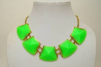 Neon Green Resin and Metallic Necklace