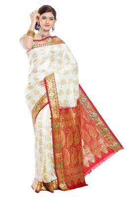Stone Work Off White golden with maroon border woven art silk saree With Blouse