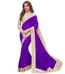 Buy Purple plain chiffon saree with blouse ganpati-saree online