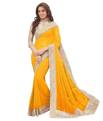 Yellow plain chiffon saree with blouse