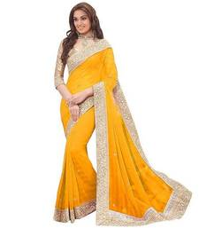 Buy Yellow plain chiffon saree with blouse hot-deal online