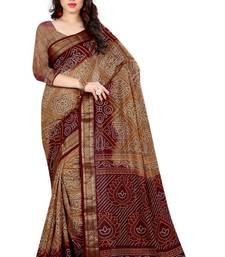 Buy Bandhani Saree(Chiku hand woven jacquard saree With Blouse) bandhani-sarees-bandhej online