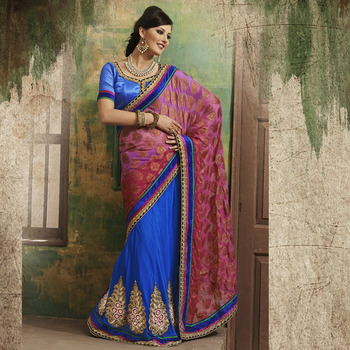 Blue and Pink Designer Party wear Saree