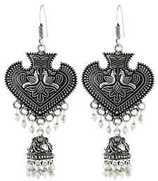 Buy Heart Antique Oxidized German Silver Pearl Jhumki Earring For Women jhumka online