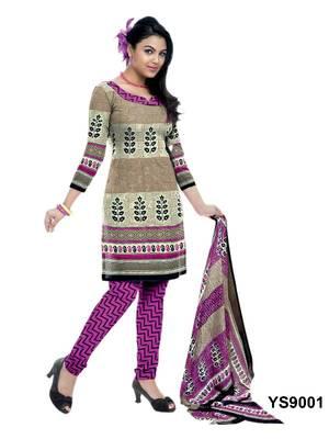 Riti Riwaz Cotton Beige Designer Printed Salwar Suit - YS9001