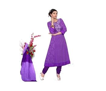 NeelFab Purple Cotton Anarkali Suit