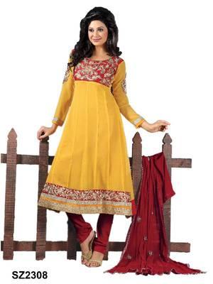 Riti Riwaz Yellow Georgette Designer Embroidered Anarkali Style Salwar Suit - SZ2308